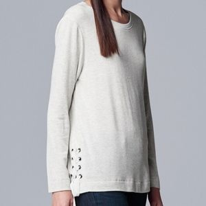 NWT SIMPLY VERA VERA WANG Side Lace-Up Sweatshirt
